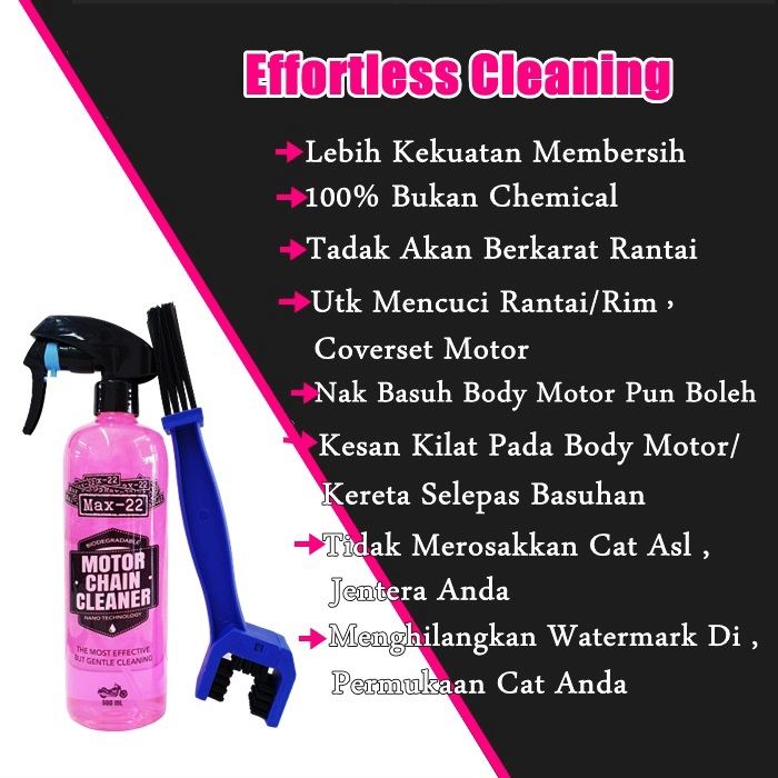 Max-22 Dirt Buster Cleaner + Chain Brush [ Buster Degreaser Cleaner for Engine, Coverset, Sporcket & Chain ]