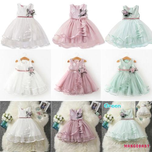US STOCK  Girls Fancy Silver Embroidered Flower Girl Party Bridesmaid Dress O100