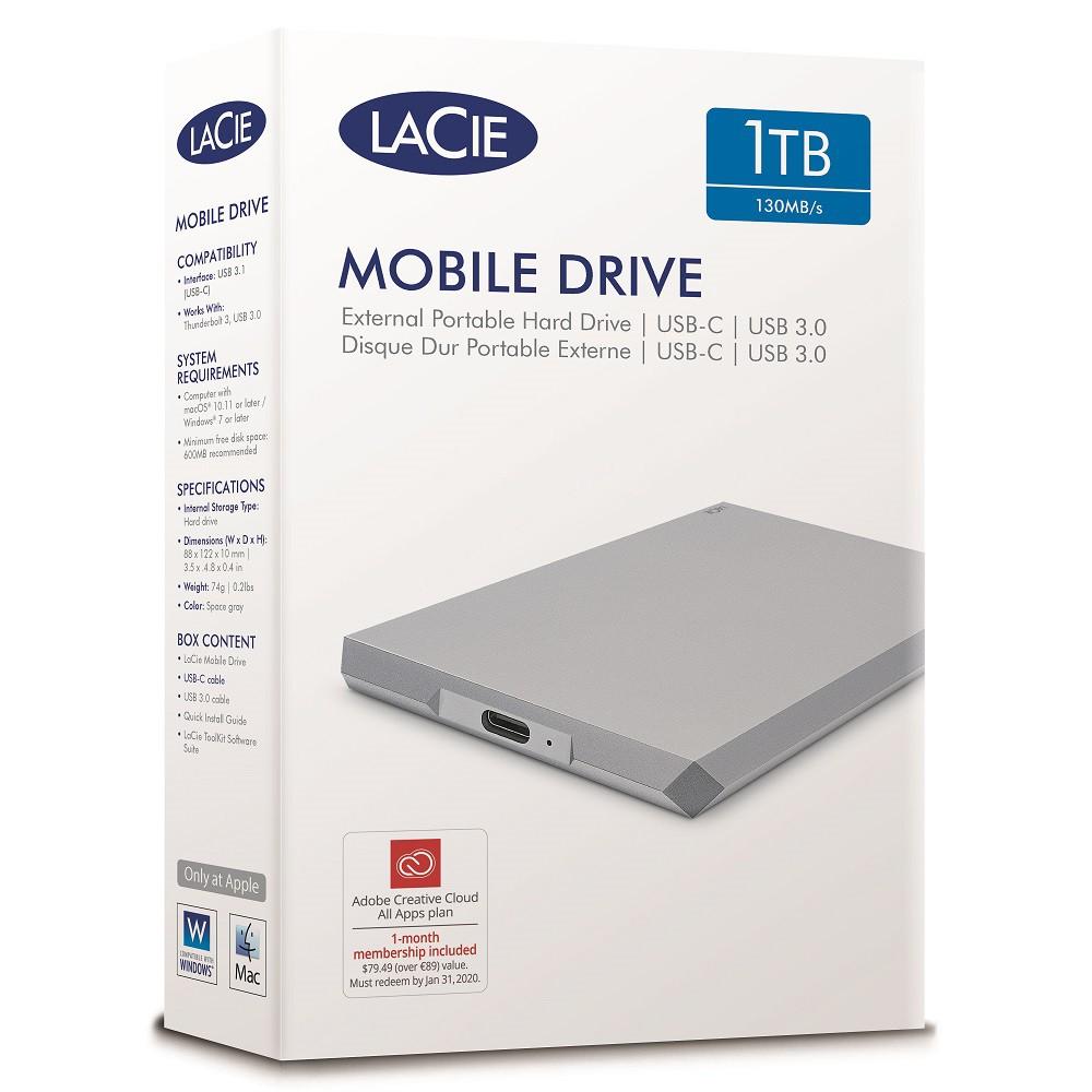Lacie Mobile Drive Usb 3 0 Type C Portable Hard Drive External Hard Disk Portable Drive Moon Silver 1tb 2tb 4tb 5tb Shopee Malaysia