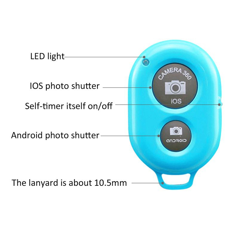 II Remote Control Camera Selfie Shutter Stick for iphone Android Windows Camera