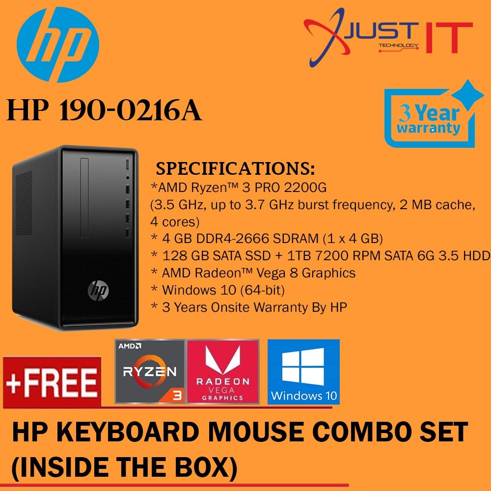 HP 190-0216A RYZEN 3 2200U 4GD4 128SSD+1TB WIN10H