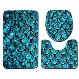 Toilet Seat Cushion Cover Fish Scales Printed Anti-slip Rug Bath Mat 3-pcs Set