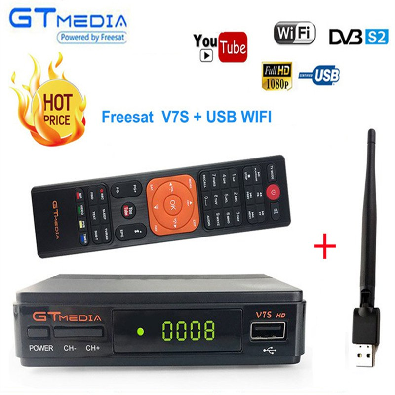 Satellite TV Receiver Gtmedia V7S HD Receptor DVB-S2 Satellite Decoder  Freesat V7 HD+ WIFI USB