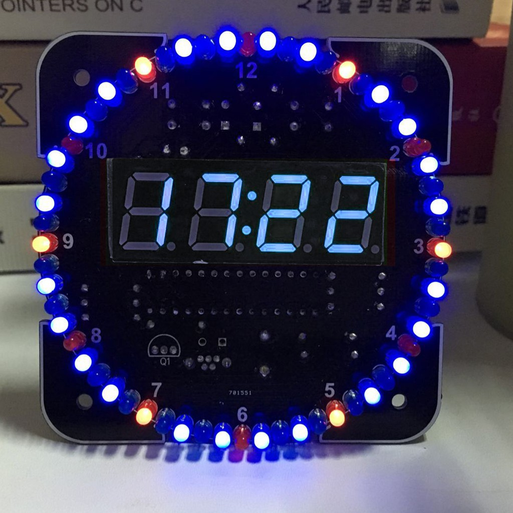 Rotating Ds1302 Digital Led Display 5v Board Learning Kit Diy Clock Electronic Circuit Time Temperature Shopee Malaysia