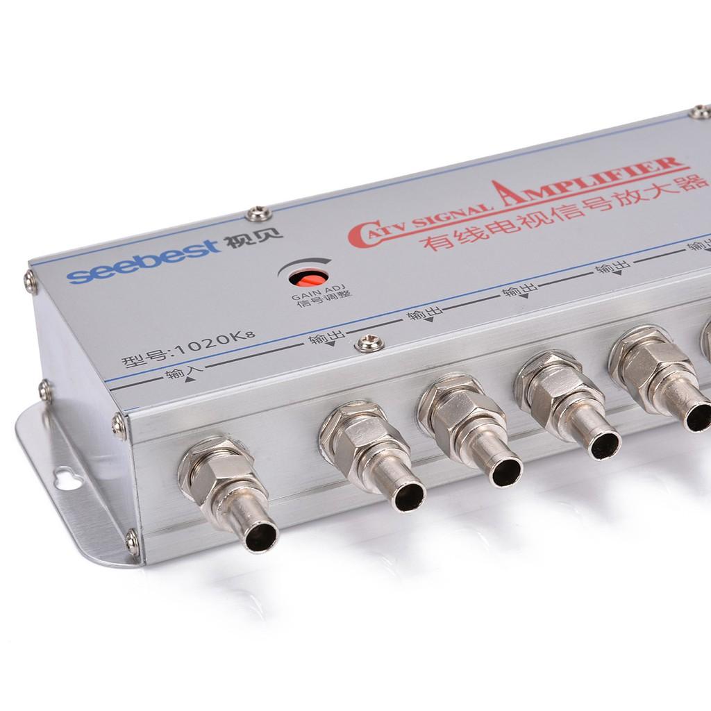 8 way CATV TV VCR Antenna Signal Amplifier Booster Splitter 20db 220V