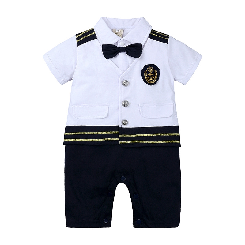 Baby Boy Captain Romper Toddler Sailor Halloween Cosplay Costume Infant Outfit