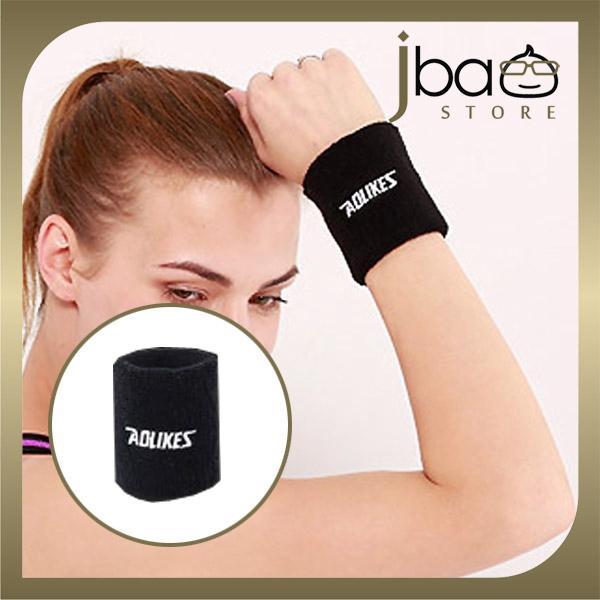 Aolikes Wristband Sweatband Support Fitness Gym Jogging Wrist Towel Sweat Absorb (Black) (1PC)