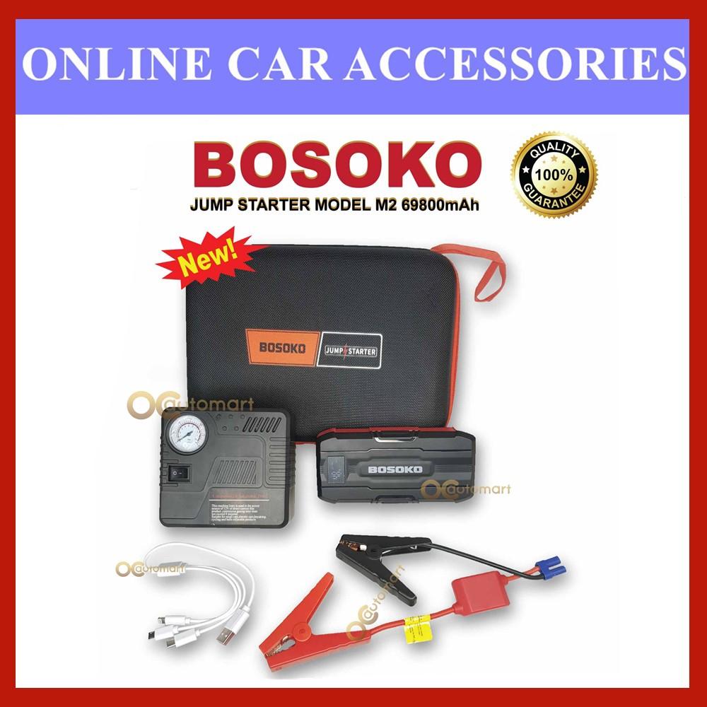BOSOKO M2 High power Booster ( 69800mAh) Power Bank Car Jump Start Emergency Kit