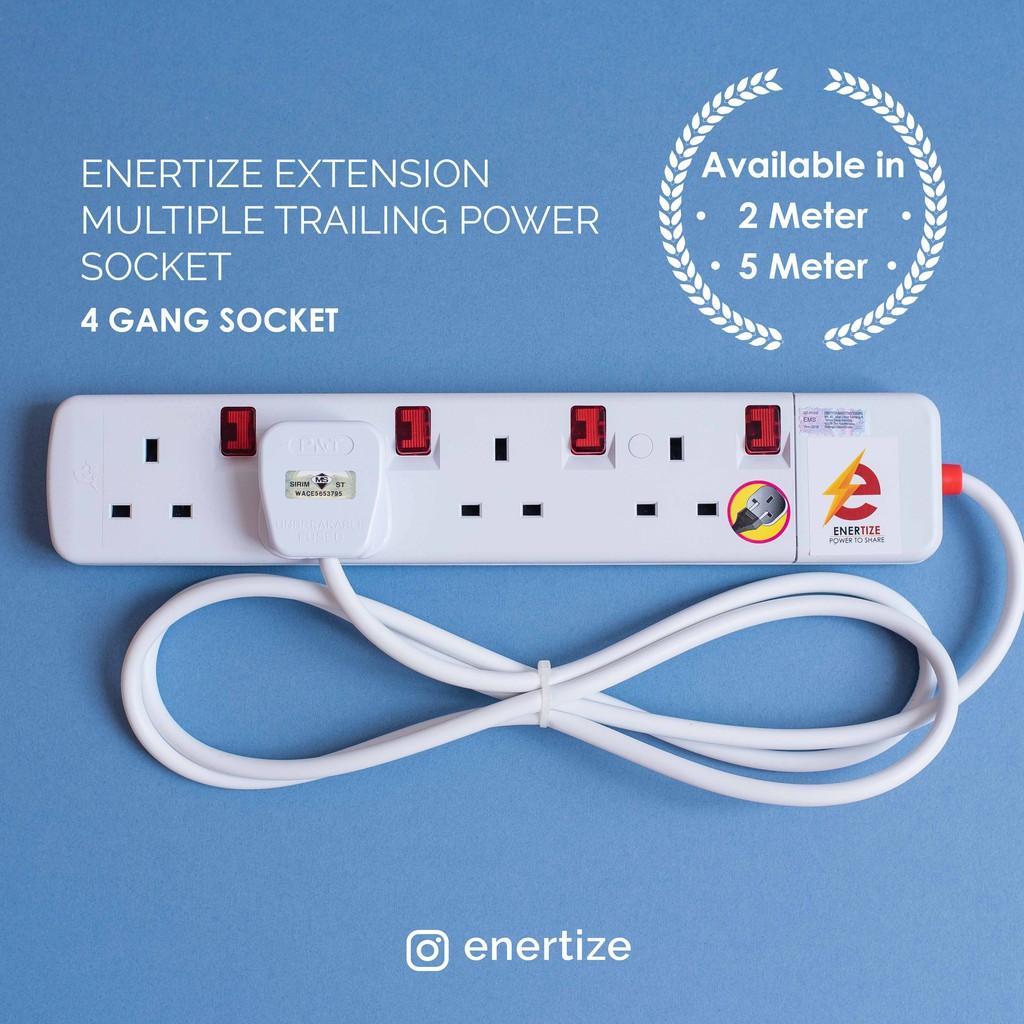 Enertize Extension Multiple Trailing Power Socket  4 Gang