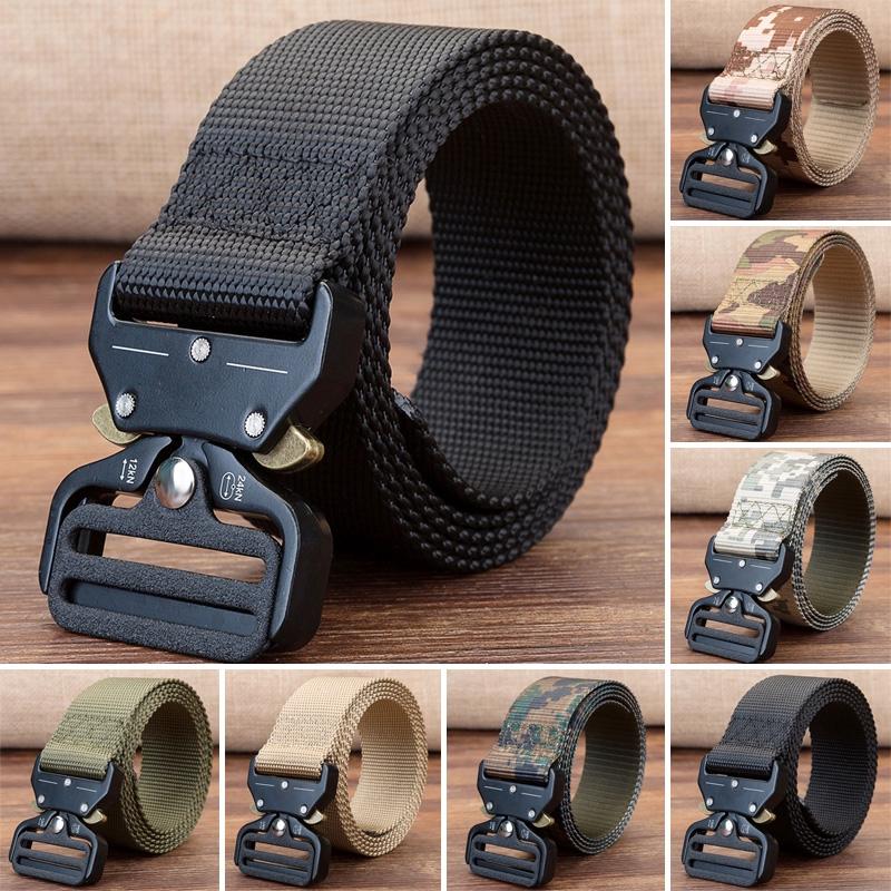 Mens Adjustable Quick Release Military Tactical Gun Belt Buckle Combat Waistband