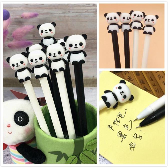 2pcs Cute Cartoon Panda Gel Pens Kawaii Stationery 0.5mm Black Needle School New