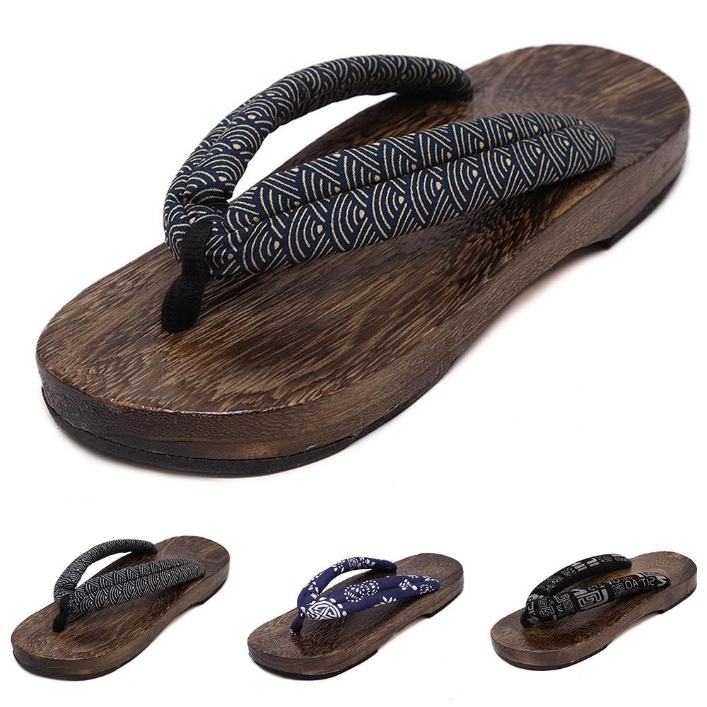 3ef9ba9396f08 Japanese GETA Clogs Mens Wooden Bidentate Flops Flip Wood Sandals Shoes Sz  42-45
