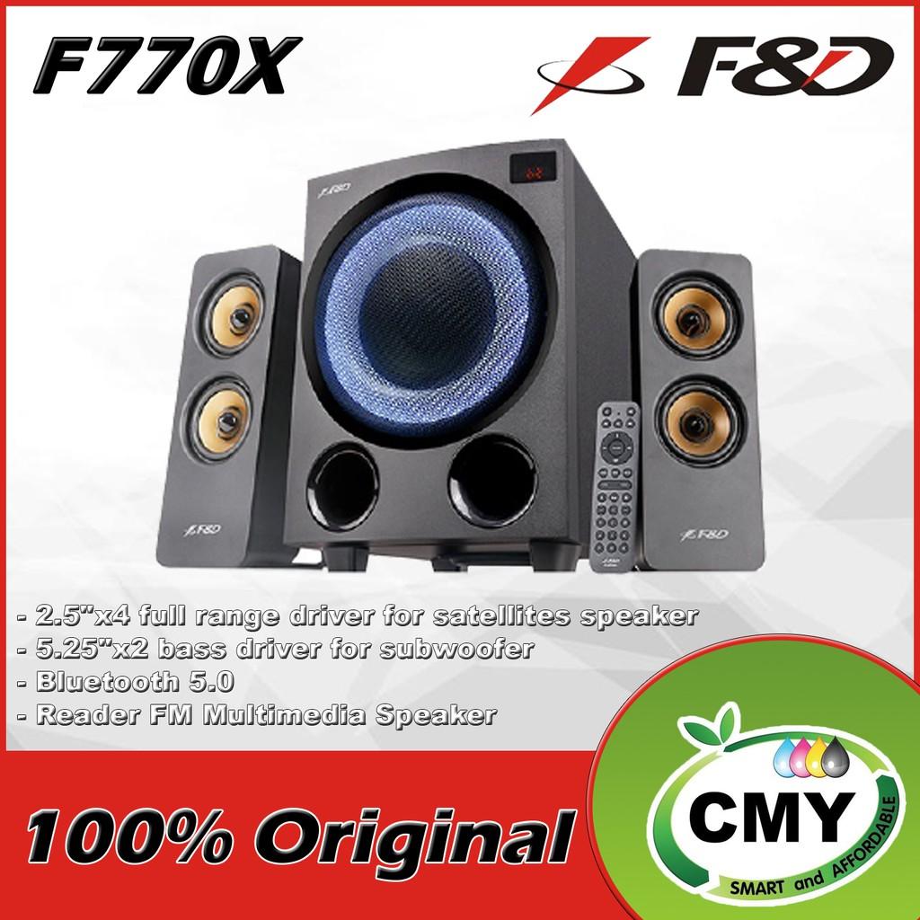 F&D F770X Total 76W 2.1 Subwoofer Bluetooth USB Reader FM Multimedia Speaker