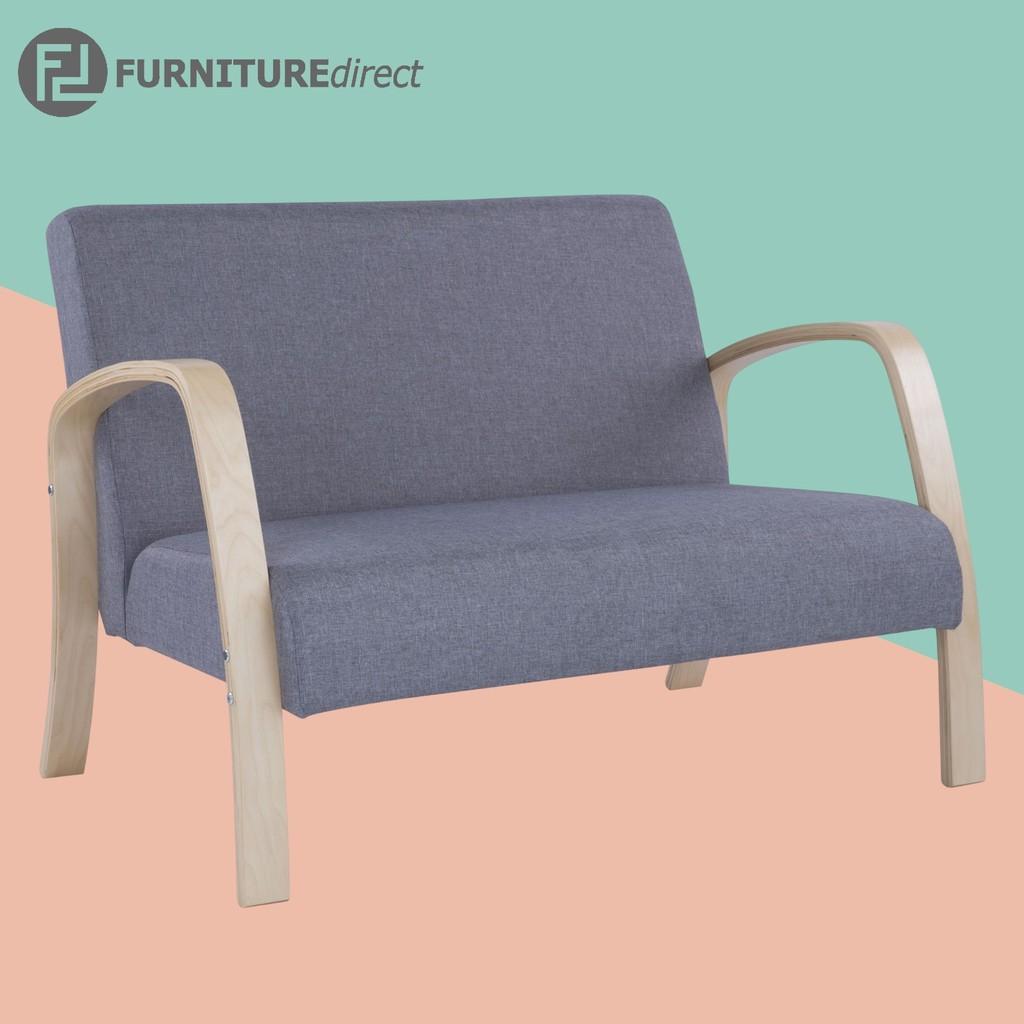 Furniture Direct MIRADA 2 seater sofa with bent wood arm-Natural/ sofa kain/ sofa kayu