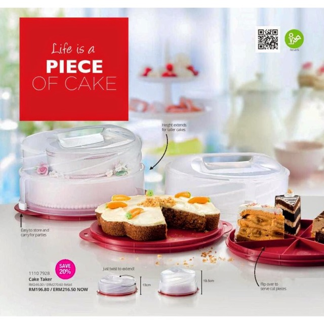Tupperware Collapsible Cake Taker Cherry X 1 pc
