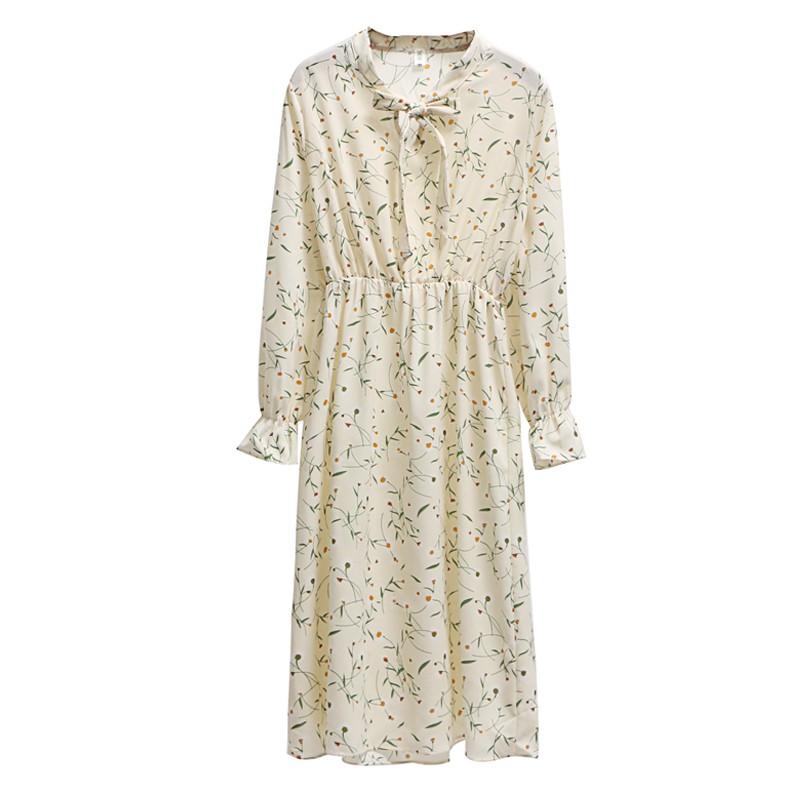 Women s Bowknot Floral Long Sleeve Ruffle Dress  6db0621d2