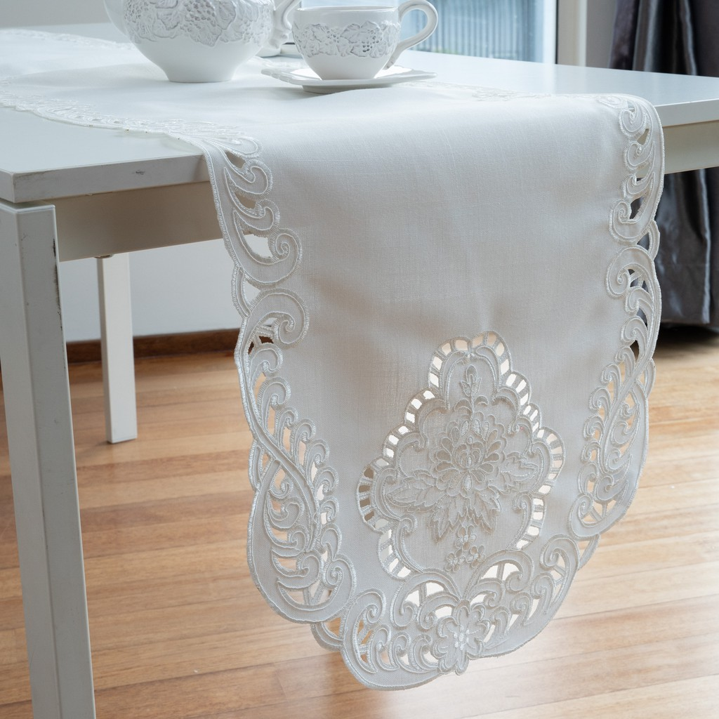 """Lace & Embroidery Y2 Classic White Cutwork Embroidery Table Runner/Dresser Scarf 40x90cm/16x36"""". (White)"""