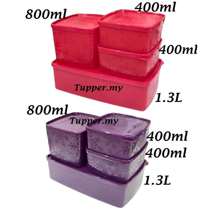*1pc*Tupperware Snowflake Square Round Set with Gift Box 400ml/800ml/1.3L-Red/Purple