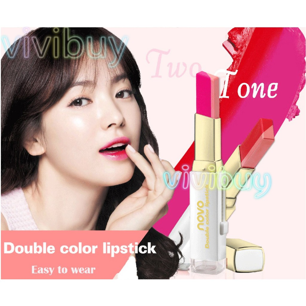 Novo Double Color Lipstick 2 Tone Stereo Lip Bite Gradient Duos Lipbar Tint Bar Shopee Malaysia