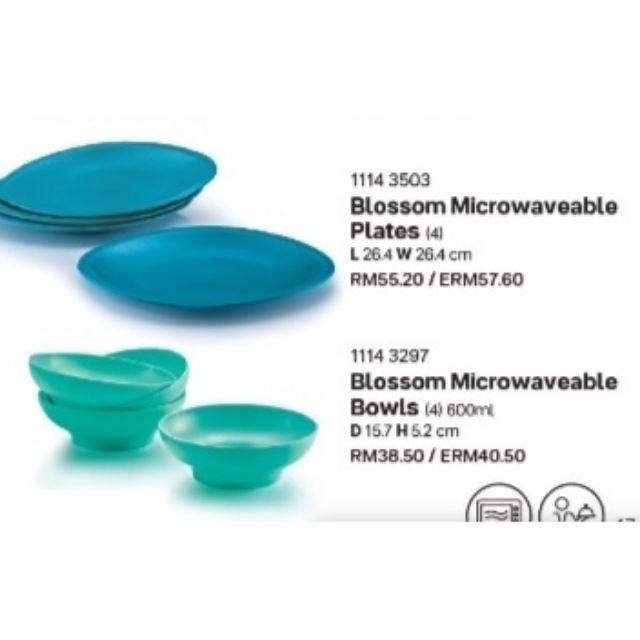 Tupperware Blossom Microwaveable Plate(4) or bowl(4) 600ml