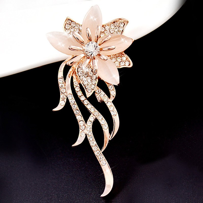 495be2ac7 MY✈Women Brooches Flower Shape Alloy Inlay Rhinestone Opal Ladies Clothing Pin  Brooch Fashion Jewelry Accessories