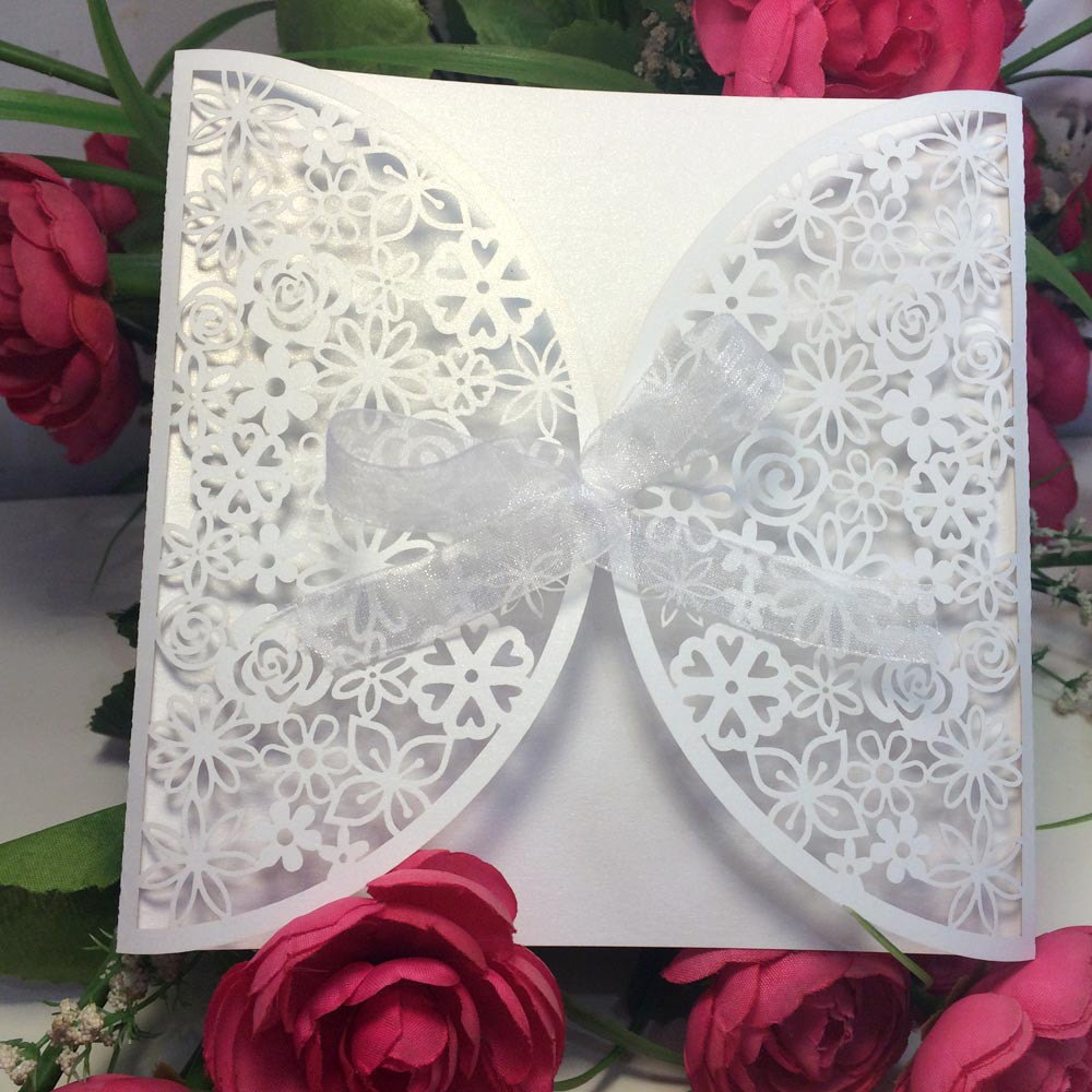 10pcs Laser Cut Wedding Party Invitation Card Carved Flower Pattern Wedding Card