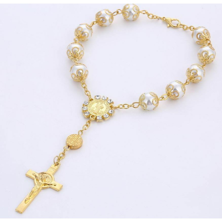 707eefd44c063 🔥[Ready Stock]🔥Christening Baptism Cross Gold Rosary Bracelet Beads Wrist  band