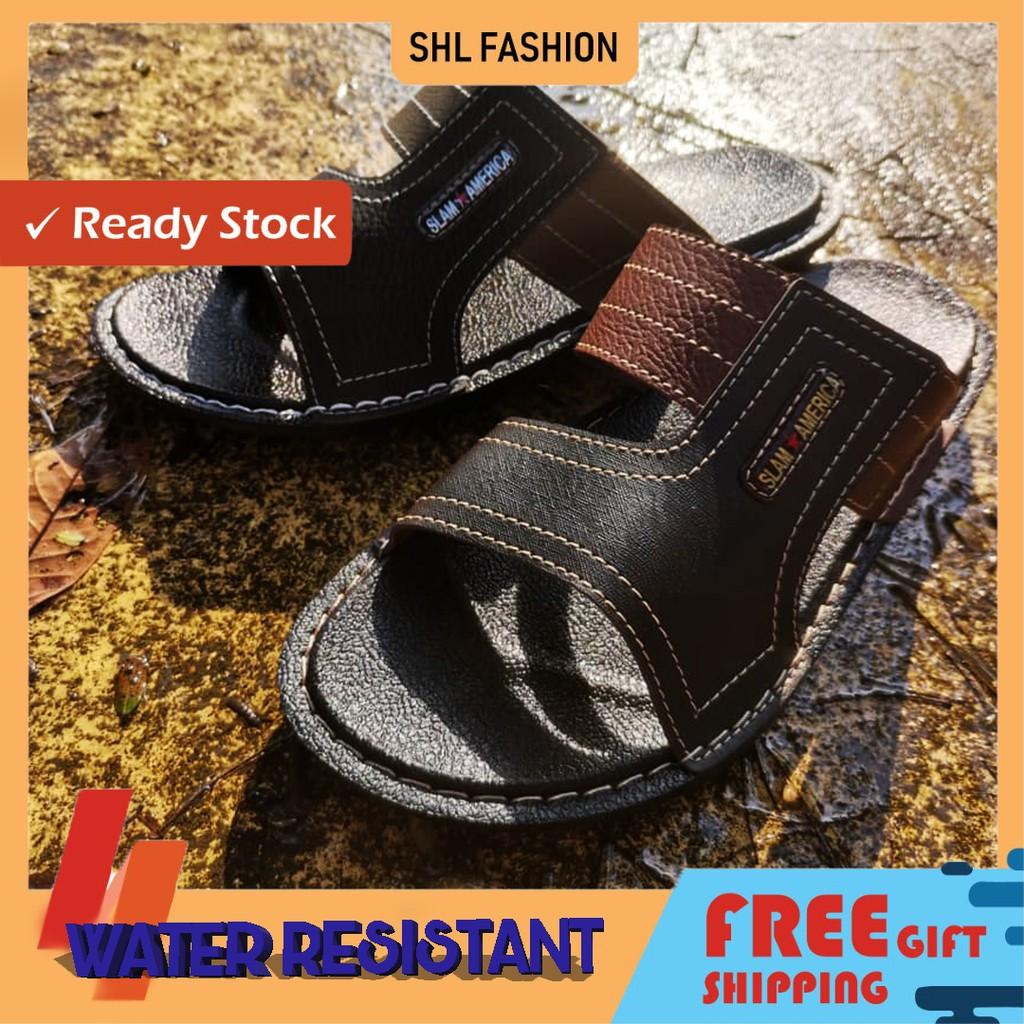 SHL Men PU Leather Sandal Casual Water Assistant Premium Selipar Kasut Lelaki size 39-44【男士拖鞋】