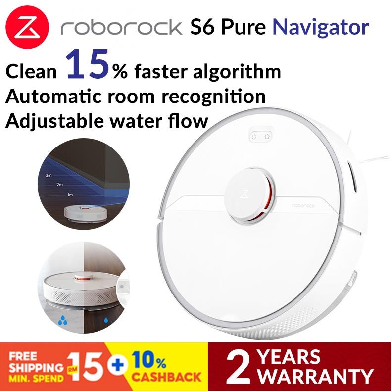 Roborock S6 Pure Robotic Vacuum Cleaner - White / 2 Years Warranty