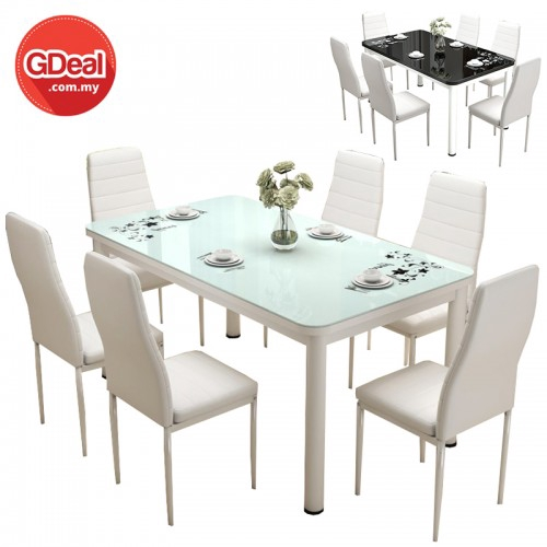 Simple Modern Rectangle Tempered Glass Top Dining Table Set With 6