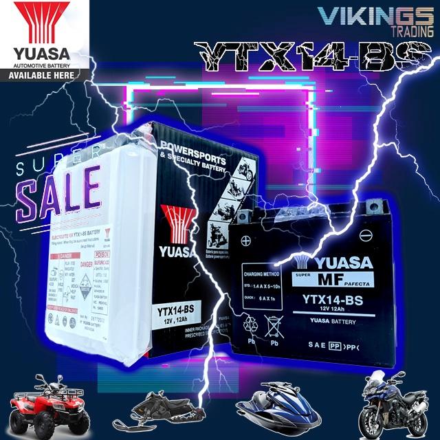 YTX14-BS VIKINGS 100% ORIGINAL AUTHENTIC JAPAN YUASA BATTERY YTX14-BS BMW KAWASAKI DUKE HONDA SUZUKI GUZZI V7 GTR 1400
