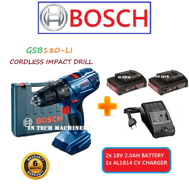 96902ea8dcb BOSCH GSB180-LI CORDLESS IMPACT DRILL +1x 18V 2.0AH BATTERY+1x AL1814 CV  CHARGER | Shopee Malaysia
