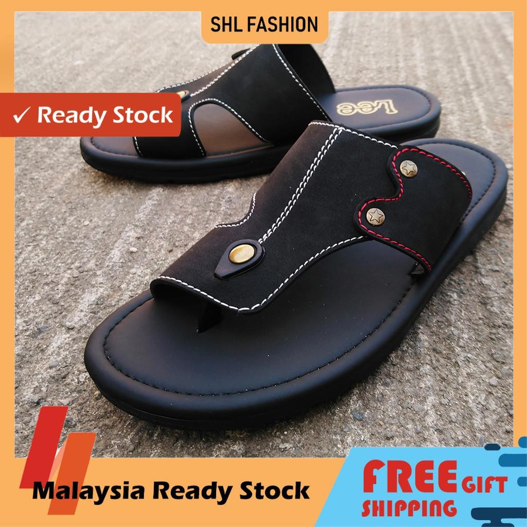 SHL Men PU Leather Sandal Advanced Slip On Selipar Kasut Lelaki size 39-44【男士拖鞋】- 9007
