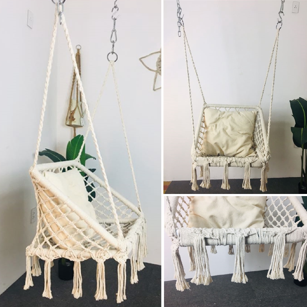 AOUTO Hammock Chair Macrame Swing Hanging Cotton Rope Macrame Hammock Swing Chair for Indoor Outdoor Home Beige
