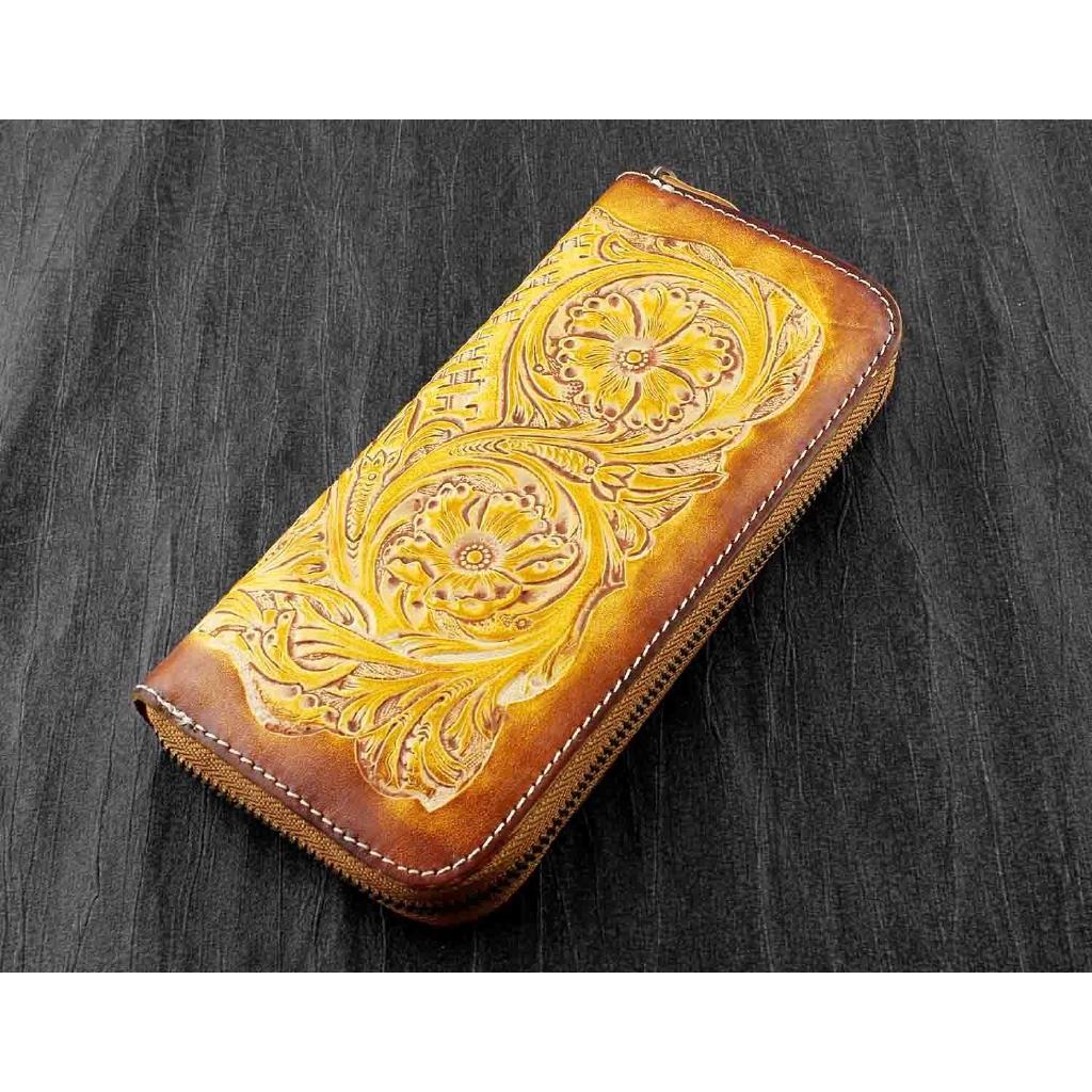 Handmade Genuine Leather Bifold Biker Men/'s brown Wallet