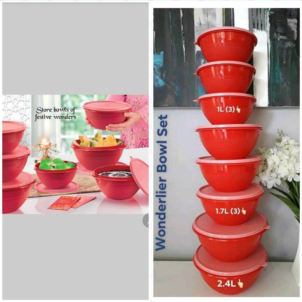CLEAR STOCK RED BOWL TUPPERWARE