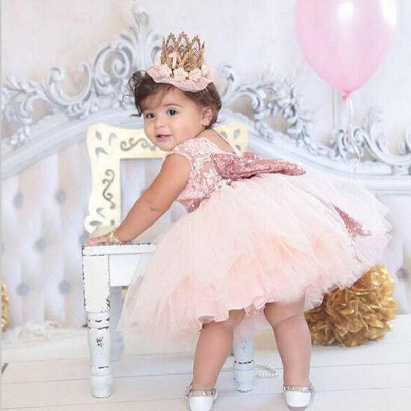 Flower Girl Sequin Bow Tutu Dress Toddle Baby Princess Party Wedding Tulle Gown