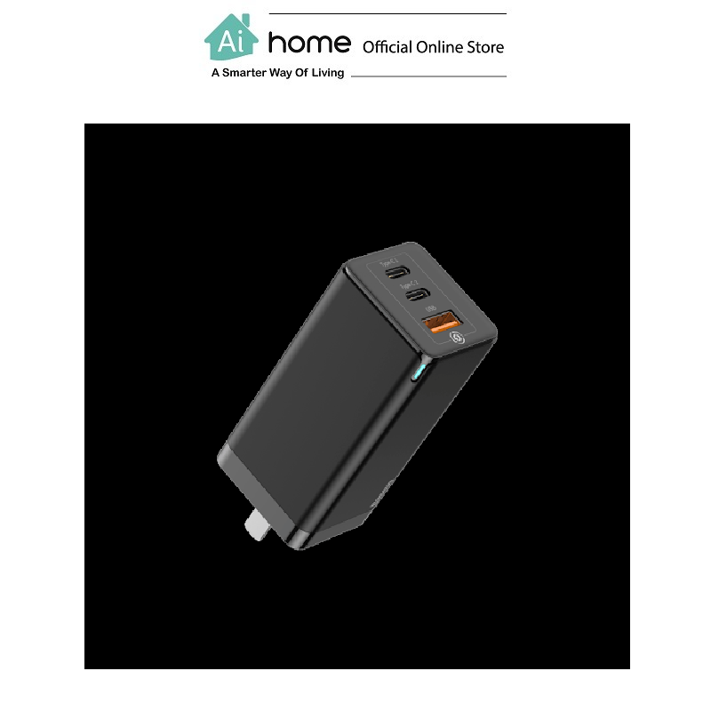 BASEUS GaN Mini Quick Travel Charger 65w (Black) with 1 Year Malaysia Warranty [ Ai Home ]