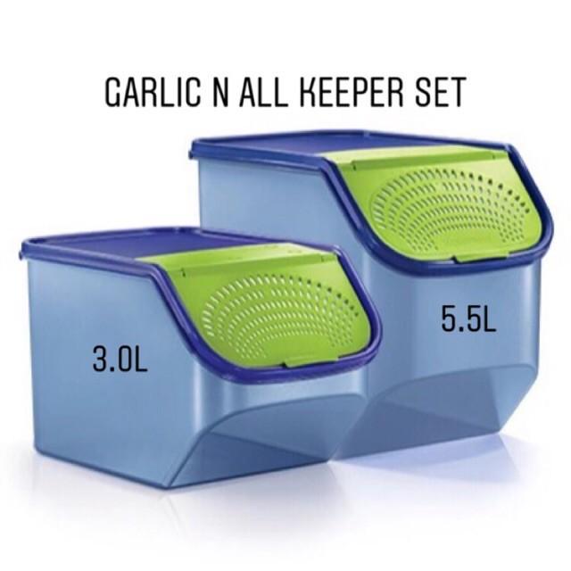 [NEW COLOUR] ORIGINAL TUPPERWARE Garlic Keeper 3.0L / 5.5L - Bekas Bawang [BLUE COLOUR]