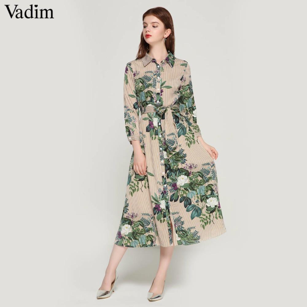 ee830785cd212 Vadim women vintage floral striped midi dress bow tie sashes long sleeve  dresses