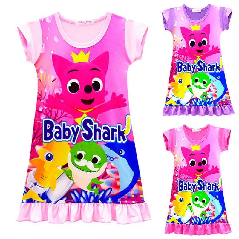 Kid Girls Cute Baby Shark Print Nightdress Short Sleeve Pajamas Summer Nightwear