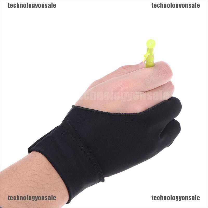 Antiskid Practical Black Anti-fouling Two Fingers Unisex Drawing Glove