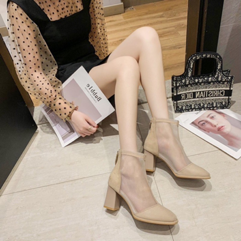 【35-39】Women's shoes Martin boots 网纱高跟鞋女凉靴夏季新款百搭镂空透气女鞋粗跟性感马丁靴