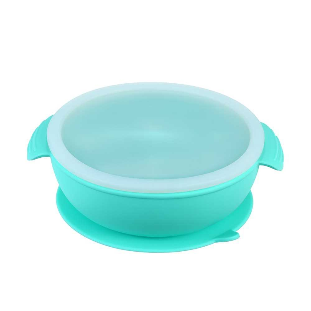 One-piece Silicone Placemat with Cover and Straw BPA-Free Heat-resistant Baby Food Plate Mat with 3 Separated Placement