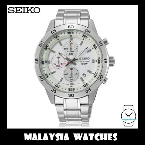 5f8e37780 Seiko Men's Chronograph Stainless Steel Band Watch SKS637P1 (Silver & White)