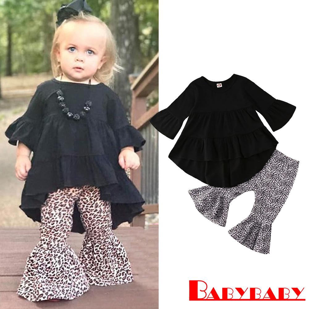 Boutique Kids Baby Girl Ruffle Plaid Tops Pants Leggings 3Pcs Outfit Clothes Set