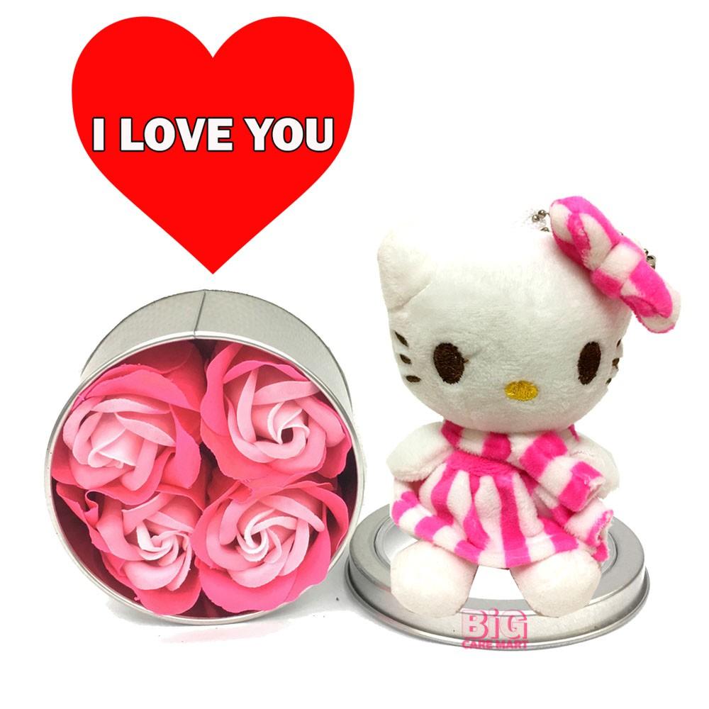 Valentine\'s Day Gift Rose Flower in Round Tin + Hello Kitty