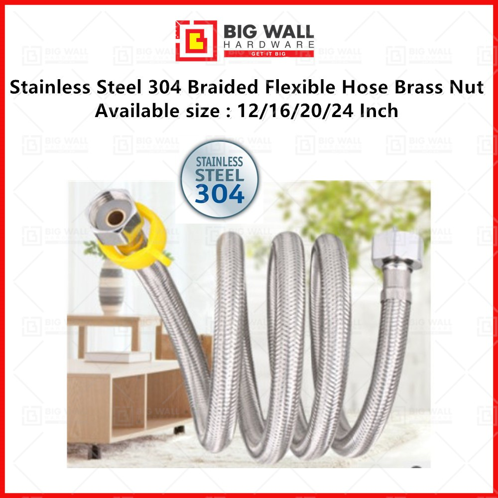 Stainless Steel 304 Braided Flexible Hose Brass Nut Faucet Connector Available size 12/16/20/24 Inch Big Wall Hardware