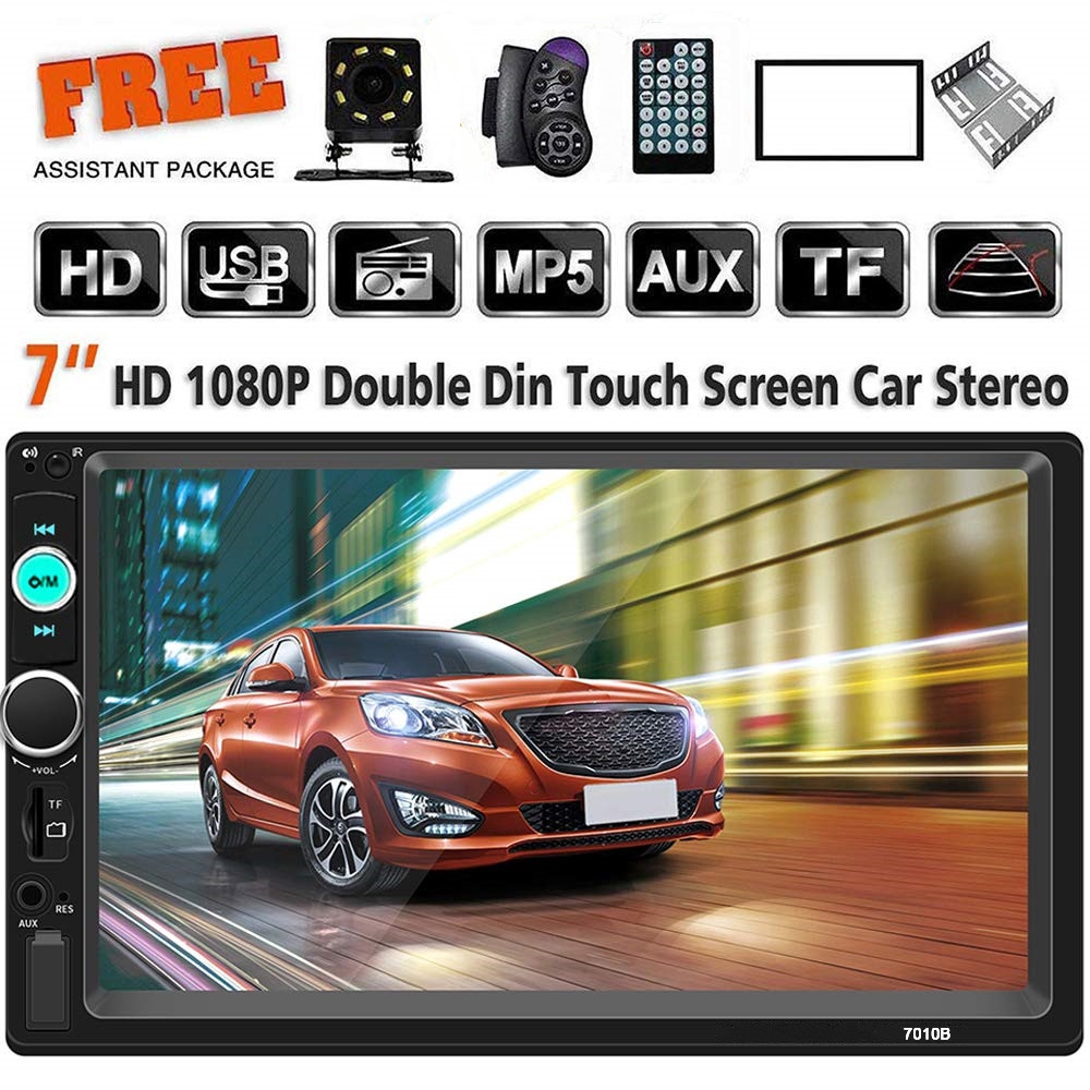 Double Din Car Stereo 7 HD Car Multimedia Player in Dash Touch Screen Car Radio Bluetooth Autoradio Head Unit Support SWC FM AUX USB TF Mirror Link Reverse View