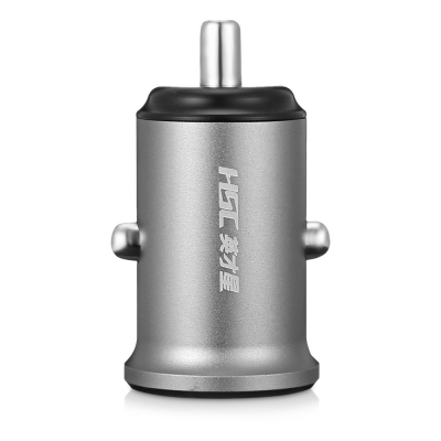 HSC YC39 Car Charger Dual USB 2.4A Aviation Aluminum Alloy (GRAY)